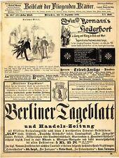 Berliner Tageblatt Benedictiner Dampf-Destillation Rostock Arac-Punsch Ba...1889