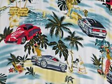 ISLANDER 2XL Shirt Aloha Hawaiian SS Sport Cars Girls Palm Trees Outriggers