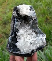WHITE CHALCEDONY CAVE CORAL IN CHALCEDONY GEODE Mineral SPECIMEN