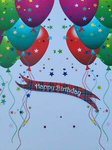 10 Happy Birthday tartan card die cut banners card toppers embellishments