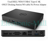 Used DELL WD15 USB-C Type-C 4K ONLY Docking Station NO cable No Power Adapter