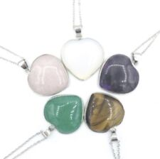 Lovely Gemstone Heart Shape Stone Pendant with Silver Chain 5 Different Stones!