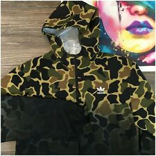 Adidas Originals Mens Trefoil Camouflage Jacket Full Zip Green Black Size Large