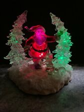 Rare 10� Christmas Tree Ice Sculpture Santa Kid Squirrel Centerpiece Lighted