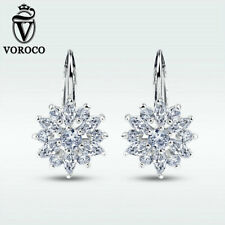 Snowflake Charm Cz Women Jewelry Voroco Free Shipping Silver Plated Earrings