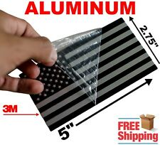 "3D ALUMINUM American Flag Sticker Decal Emblem 3M HUGE 5"" x 2.75"" (Black/Silver)"