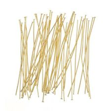 Flat Head Pins 50mm (2 Inch) Gold Plated 0.60mm - Pack of 50 (H25/1)