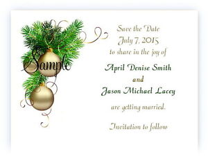 100 Personalized Custom Christmas Gold Bulbs Bridal Wedding Save The Date Cards