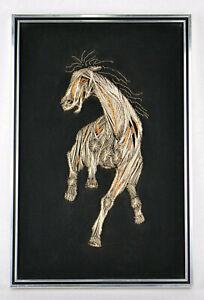 """1978 Gothic Horse Wall Decor Art Metal Thread Art 18"""" Tall Silver Gold Threads"""