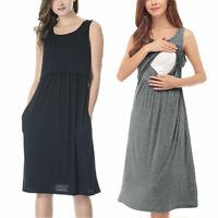 Women Maternity Sleeveless With Pockets Nursing Nightdress Breastfeeding Dress