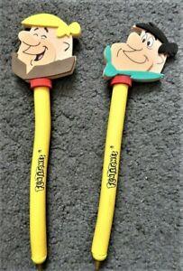 Lot of 2 Flintstones Foam Pens 1994 Hanna Barbera Fred Flintstone Barney Rubble