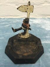 Vintage Cast Iron Ashtray Top Hat Drunk Holding Lamp Post