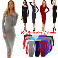 New Ladies Womens Plain Bodycon Long Sleeve stretch Midi Dress Jersey Maxi 8-26