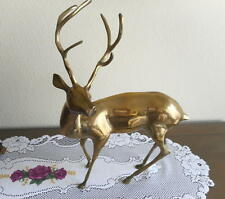 "Large Vintage Collectible Polished Yellow Brass Buck Deer Sculpture 17-1/2"" Tall"
