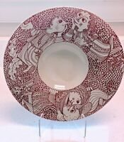 Bjørn Wiinblad Nymolle Denmark Rare Vintage Large Ceramic Serving Dish Red/Cream