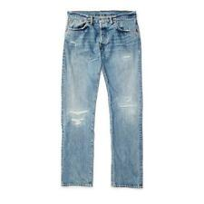 RRL Low Straight Selvedge Jeans men double rl Springdale Wash,new light blue$440