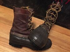 Vintage L.L Bean Maine Hunting Shoes Leather Rubber Freeport Boots. Made In USA.