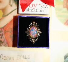 Gothic Rococo Victorian designer adjustable ring vintage pink opal foil glass