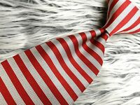 Brooks Brothers Makers MEN'S RED WHITE STRIPED ALL SILK MADE IN USA NECKTIE