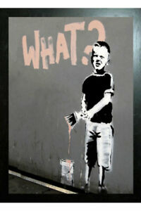 BANKSY ART BLACK FRAMED BOY WITH PAINT BRUSH - 3D PICTURE LARGE 325mm x 425mm