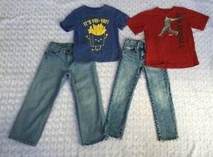 LOT of Boys Clothes-2 Pair Jeans & 2 Short Sleeve Tops-Old Navy,  Nike  (Size 6)