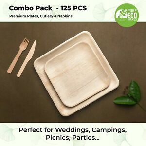 Disposable Natural Eco Friendly Party Wedding Birthday Dinner Plates & Cutlery