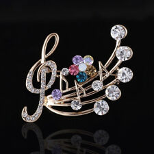 MUSICAL NOTE BROOCH Treble Clef Gold Tone Rhinestone Crystal Pin. NEW