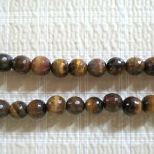 Genuine Tiger Eye Faceted Round Beads 8mm 15""