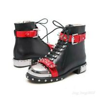 Gothic Womens Ankle Boots Rivet Lace up Buckle Low heel Leather Biker shoes Punk