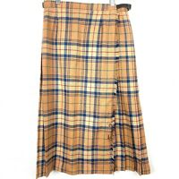 Vintage Pitlochry Tan Blue Tartan Plaid Wool Kilt Skirt Size 12 Made in Scotland