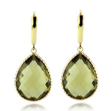 14K Yellow Gold Gemstone Earrings With Large Pear Shaped Olive Quartz