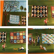 "VTG Original Folk Art Painting ""Mother's Quilts"" Signed McPherson Farmhouse Prim"