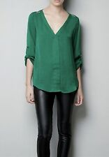 Zara Emerald Green V Neck Silk Shirt