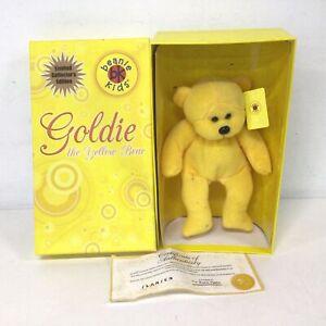 """Beanie Kids Ltd Edition """"Goldie"""" Bear In Original Box #573"""