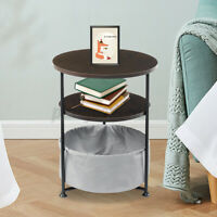 Bedside End Table Sofa Side Table Coffee Snack Tray Nightstand w/Fabric Storage