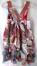NWT Size M L Made in France Forla Paris Layered Tiered Boho Gypsy Print Dress