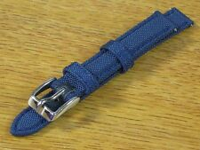 12mm Robo Band Strap Ballistic Nylon Leather Sport Blue Watch Band-Water Resist.