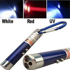 Led Laser Pointer Flashlight UV Keychain Light Red Beam Mini Black Lazer 3 in 1