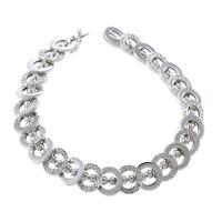 "2.43CTW Diamond Circle Charm Bracelet 14k White Gold Ball Chain Link 10mm 7.00"""