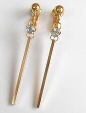 ELEGANT GOLDEN BAR & CRYSTAL CLIP ON EARRINGS (hook options)