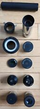 Set of Telescope Eyepieces and accessories with antique custom wood box