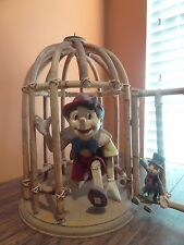 Vintage Disney Pinocchio Jiminy Cricket Wood Bamboo Bird Cage Big Fig Figurine