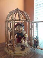 Vintage Disney Pinocchio Jiminy Cricket Wood Bamboo Bird Cage Big Fig Figurine