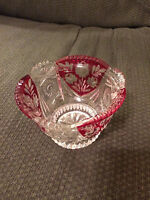VINTAGE CLEAR RED CRANBERRY PAINTED GLASS FLORAL CRYSTAL VASE BOWL!