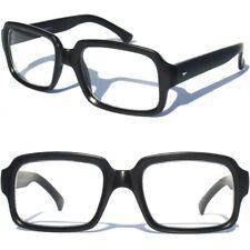 Matte Black RETRO NERD Hipster CLEAR LENS EYE GLASSES Squared Rectangular Nerd