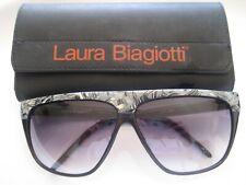 Laura Biagiotti Sunglasses w/ Case Oversized Black Marbled