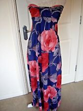 MISO BLUE PINK FLORAL ELASTICATED  BANDEAU MAXI STRAPLESS DRESS UK 10 GREAT COND