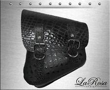 La Rosa Softail Rigid Black Alligator Emboss Leather Left Swing Arm Saddlebag