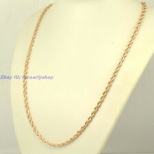 """24""""4mm25g TWIST THIN ROPE CHAIN 18K ROSE GOLD PLATED NECKLACE SOLID FILL GP LINK"""