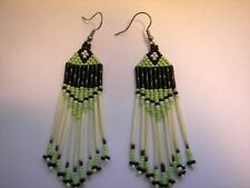 Porcupine quill earrings Lime green/black  NEW Native American